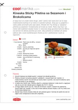 Kineska Sticky Piletina sa Sezamom i Brokolicama