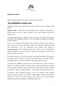 dm {ZAJEDNO} za bolje sutra - dm drogerie markt Bosna i