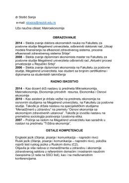 dr Stošić Sanja - Fakultet za poslovne studije