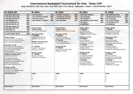 "International Basketball Tournament for Kids ""Roda CUP"""
