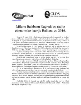 Milanu Balabanu Nagrada za ekonomsku istoriju Balkana