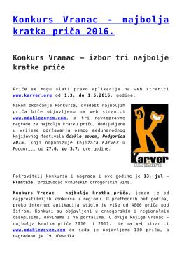 Konkurs Vranac - najbolja kratka priča 2016.