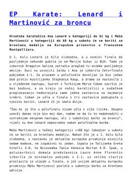 EP Karate: Lenard i Martinović za broncu