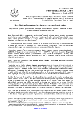 Nova Direktiva Europske unije o duhanskim - curia