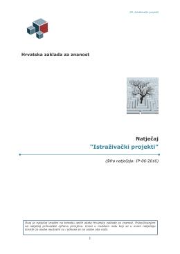TEKST NATJEČAJA () - Hrvatska zaklada za znanost