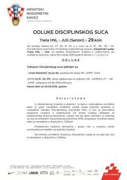 odluke disciplinskog suca - Hrvatski nogometni savez
