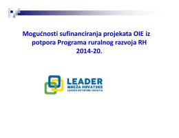 Mogućnosti sufinanciranja projekata OIE iz potpora Programa