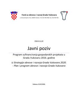 Javni poziv – Program sufinanciranja gospodarskih projekata Vu 2016