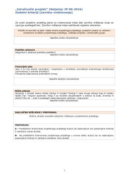 Kriteriji za vrednovanje C
