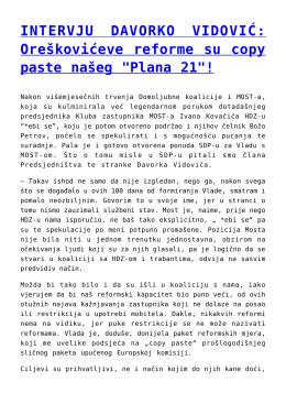 """Oreškovićeve reforme su copy paste našeg """"Plana 21""""!"""