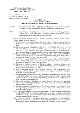 Zapisnik – 71. sastanka Kolegija načelnika