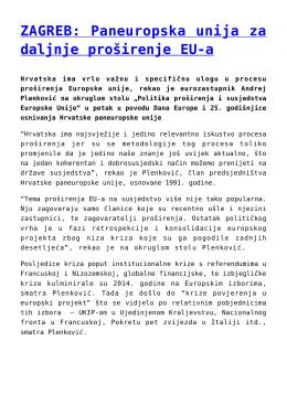 ZAGREB: Paneuropska unija za daljnje proširenje EU-a