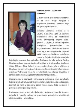 IN MEMORIAM - Hrvatska Komora Primalja