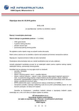 Objavljuje dana 04. 05.2016.godine 10000 Zagreb, Mihanovićeva 12