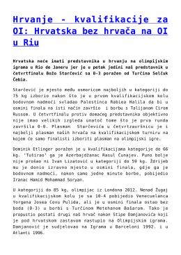 Hrvanje - kvalifikacije za OI: Hrvatska bez hrvača na OI