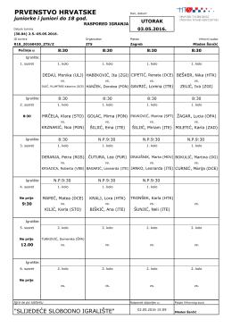Raspored igranja utorak juniorke