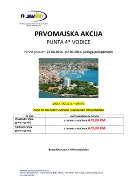 hotel punta 4* – vodice ( 1 maj 2016) – novo