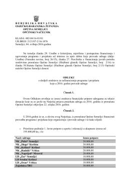 odluka o dodjeli sredstava udrugama za 2016