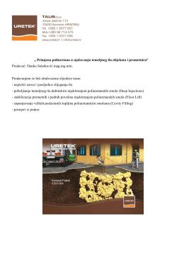 Primjena poliuretana u ojačavanju temeljnog tla objekata i prometnica