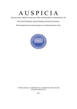 Číslo 1 - Vysoká škola evropských a regionálních studií, o.p.s.