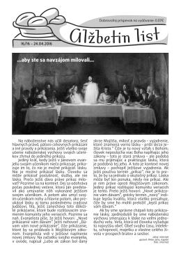 Alžbetin list č. 16 - Farnosť sv. Alžbety
