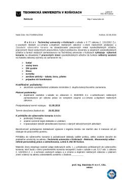 Výberové konanie - odb. asistenti na KTV