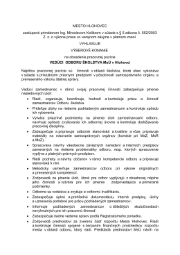 Výberové konanie - Vedúci odboru školstva