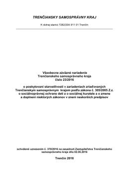 VZN 23-2016 - Trenčiansky samosprávny kraj