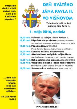 deň svätého Jána Pavla II. vo vIšňovom