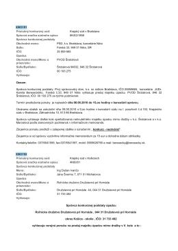 Správca konkurznej podstaty 6K/63/1998 Spisová znaćka