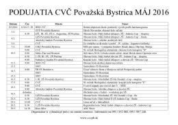PODUJATIA CVČ Považská Bystrica MÁJ 2016