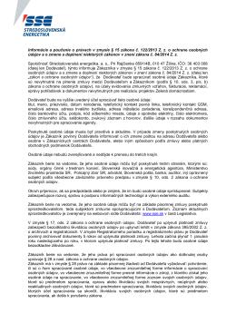 Informácie a poučenie o právach - zmluvné vzťahy