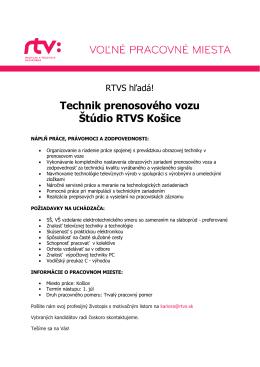 Technik prenosového vozu Štúdio RTVS Košice