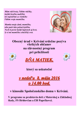 Deň matiek 2016