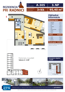 Katalógový list bytu - projekt Rezidencia pri Radnici
