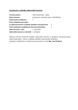 Výsledok výberového konania - Gymnázium Varšavská cesta 1