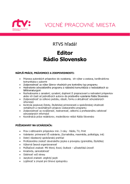 Editor Rádio Slovensko