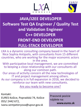 JAVA/J2EE DEVELOPER Software Test QA Engineer
