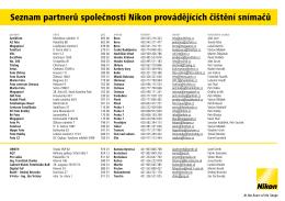 Seznam partnerů společnosti Nikon provádějících čištění snímačů