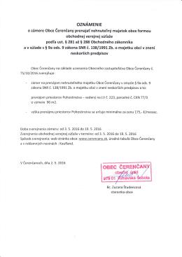 Oznámenie o zámere obce Čerenčany prenajať nehnuteľný majetok