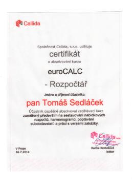 certifikát eurocalc - rozpočtář