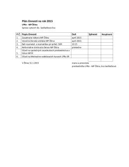 Plán činnosti na rok 2015