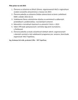Plán činnosti MP Topoľčany na rok 2015