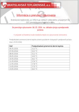 Informácia o prerušení vykurovania