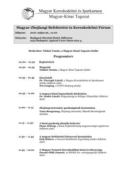 Magyar-Zhejiangi Fórum programterv