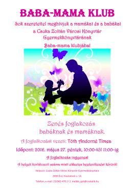 BABA-MAMA KLUB - Csuka Zoltán Városi Könyvtár, Érd
