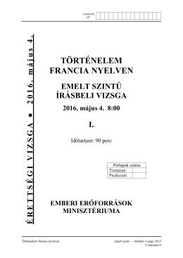 TÖRTÉNELEM FRANCIA NYELVEN