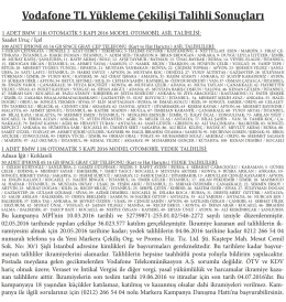 Vodafone TL Yükleme Çekilişi Talihli Sonuçları