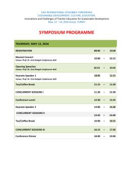 symposıum programme - Konya Necmettin Erbakan Üniversitesi