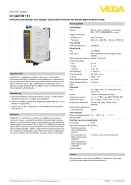 Data sheet - VEGATOR 111 - NAMUR sensörleri için limit seviyesi